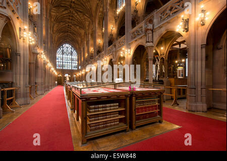 The historic Reading Room inside the grade I listed John Rylands Library building on Deansgate, Manchester (Editorial - Stock Photo
