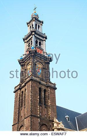 Tower of Westerkerk church, Amsterdam, North Holland, Netherlands - Stock Photo
