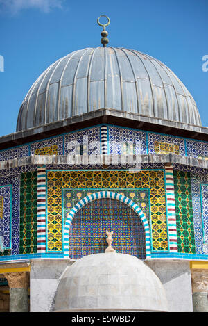 Close-up of richly decorated Dome of the Chain in the Al-Aqsa complex , Jerusalem, Israel. - Stock Photo