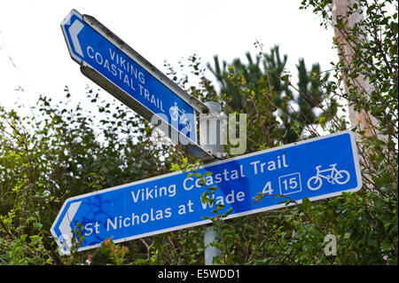 Signs for the Viking Coastal Trail at Reculver Herne Bay Kent England UK - Stock Photo