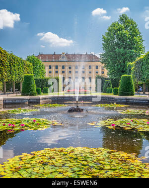 Fountain in the park behind the Schonbrunn  castle in Vienna - Stock Photo