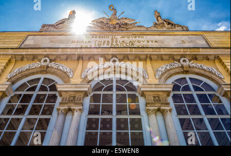 Schonbrunn Palace Garden Gloriette in Vienna. It was used as a dining and festival hall  for emperor Franz Joseph. - Stock Photo