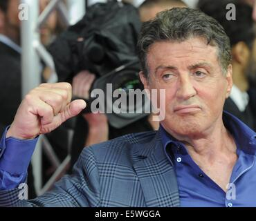 Cologne, Germany. 06th Aug, 2014. Actor Sylvester Stallone arrives for the premiere of the movie 'The Expendables - Stock Photo