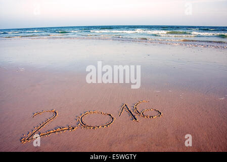 2016 written in sand, on tropical beach, in sunset - Stock Photo