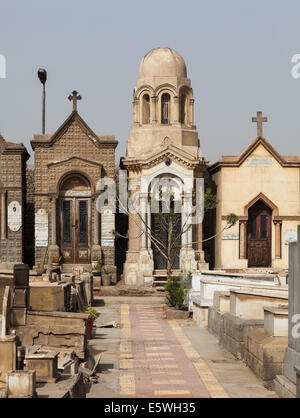 Crypts in the Greek Orthodox cemetery in Convent of St George in Coptic or Old Cairo, Egypt - Stock Photo