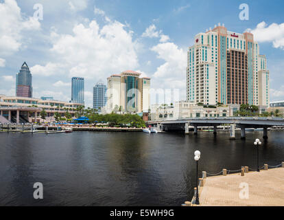 Tampa city skyline taken from Harbour Island in summer, Florida, USA with the Marriott Waterside Hotel - Stock Photo