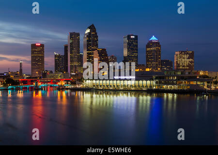 View of Tampa, Florida city skyline at night, Florida, USA with skyscrapers in the Tampa bay central business district - Stock Photo