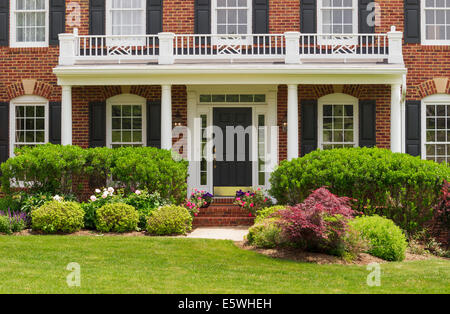 Front door of a house, USA - large single family modern home - Stock Photo