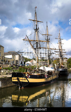 Old sailing ships in Charlestown harbour UK - Stock Photo
