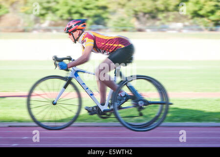 Cyclist in para-athletic training - Stock Photo