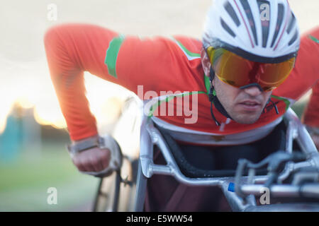 Close up of athlete in para-athletic competition - Stock Photo