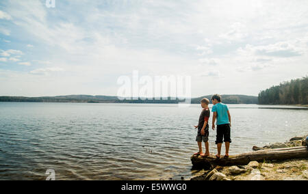 Two boys standing on fallen tree looking down into lake - Stock Photo