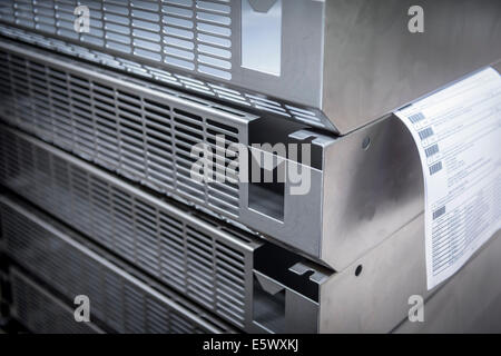 Close up of prepared parts in sheet metal factory - Stock Photo