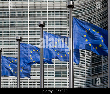 European flags outside the Berlaymont office of European Commission, Brussels, Belgium - Stock Photo