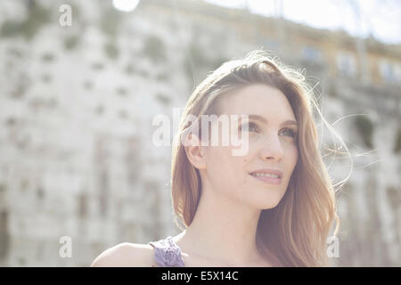 Portrait of a young woman, looking to the future - Stock Photo