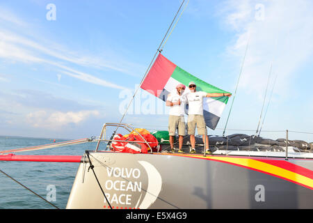 Isle of Wight, UK. 6th Aug, 2014. Abu Dhabi, makes debut at Cowes, naming of Azzam, Abu Dhabi Ocean Racing's contender - Stock Photo