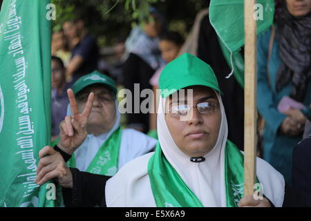 Gaza. 7th Aug, 2014. Thousands of Palestinians hold mass demonstration in the Gaza Strip to support the resistance - Stock Photo