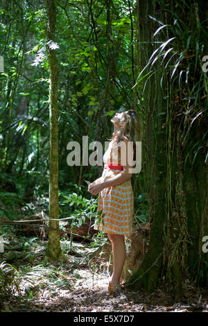 Mid adult woman leaning against tree in jungle gazing upward - Stock Photo