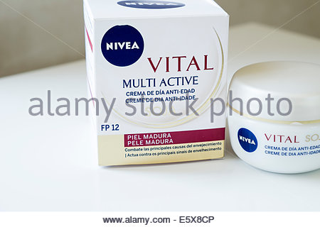 Nivea Vital soja moisturising day cream as sold in Portugal with box - Stock Photo
