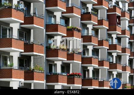 Balconys of an apartment building in Kreuzberg, Berlin, Germany. - Stock Photo