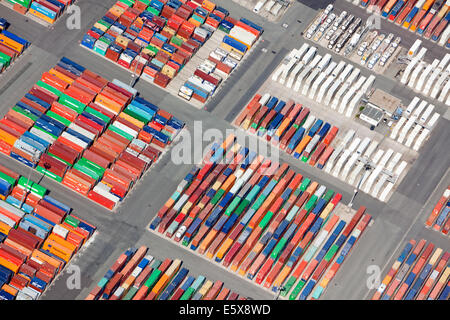 Aerial view of container storage area at the port of Hamburg - Stock Photo