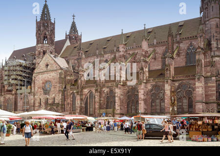 FREIBURG IM BREISGAU, GERMANY - AUGUST 6, 2014: Weekly market near the Minster in Freiburg, a city in the south - Stock Photo