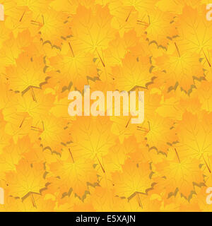 seamless pattern of  many autumn yellow leaves - Stock Photo