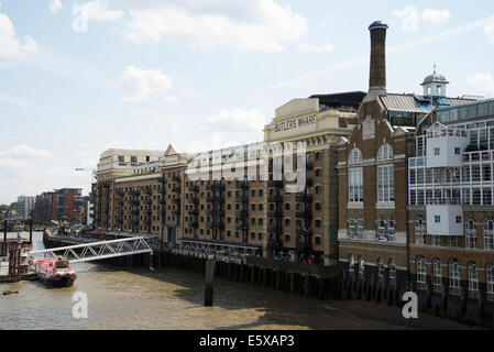 Butlers Wharf, Southwark, London, UK. River view from Tower Bridge - Stock Photo
