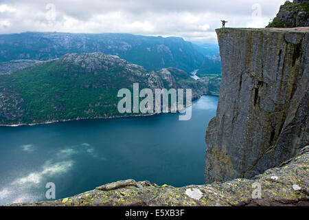 Preikestolen, Pulpit Rock, at Lysefjord, Rogaland province, Norway - Stock Photo