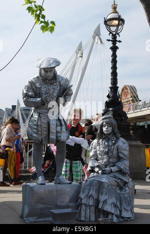 artists at work on South Bank London United Kingdom - Stock Photo