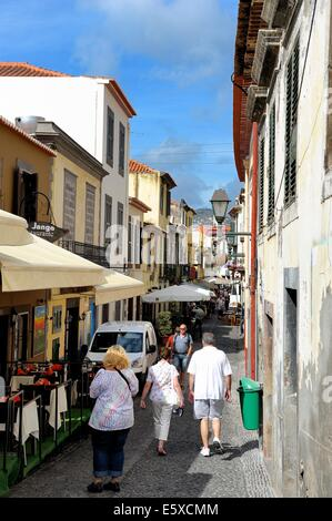 Funchal Madeira old town street restaurant - Stock Photo