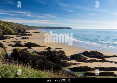 Dramtic coastline at Sharrow Point in Whitsand Bay Cornwall England UK Europe - Stock Photo