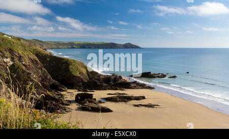 Dramatic coastline at Sharrow Point in Whitsand Bay Cornwall England UK Europe - Stock Photo