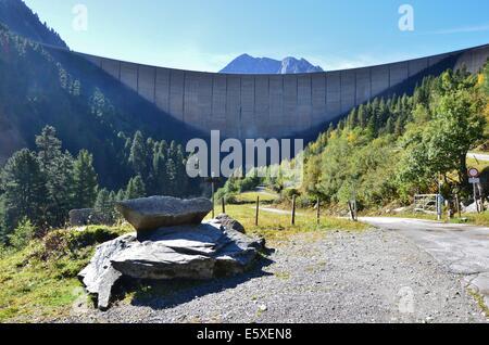 Schlegeis basin, Lake Schlegeis Zillertal valley, underneath Olperer mountain hut. Zillertal Alps, Tyrol Austria - Stock Photo