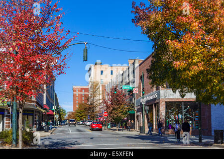 Haywood Street in downtown Asheville, North Carolina, USA - Stock Photo