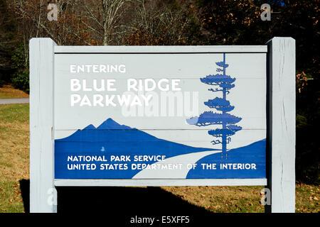 Entrance to the Blue Ridge Parkway near Cherokee, North Carolina, USA - Stock Photo