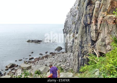 Denmark, Bornholm Island Pictures taken between 1st and 5th August 2014.  Pictured: Jons Kapel rock bluff at the - Stock Photo