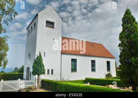 Denmark, Bornholm Island Pictures taken between 1st and 5th August 2014.  Pictured: Church in Tejn village - Stock Photo