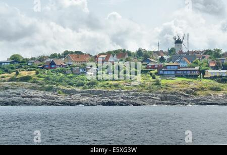 Denmark, Bornholm Island Pictures taken between 1st and 5th August 2014.  Pictured: General view of the Gudhjem - Stock Photo