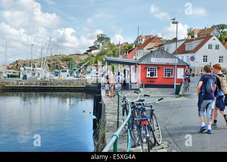 Denmark, Bornholm Island Pictures taken between 1st and 5th August 2014.  Pictured: Gudhjem port - Stock Photo