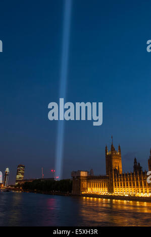 Victoria Tower Gardens, London UK. 7th August 2014. Spectra, an installation of 49 spotlights, shoots a shaft of - Stock Photo