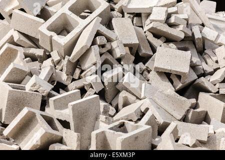 Pile of broken cinder blocks