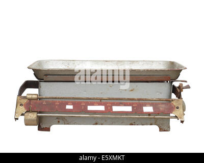 old rusty mechanical scales isolated on white background. - Stock Photo
