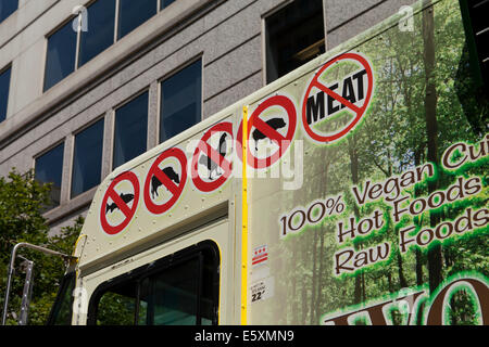 No meat signs on vegan food truck - Washington, DC USA - Stock Photo