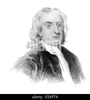 Sir Isaac Newton, 1642-1726, an English physicist and mathematician, - Stock Photo