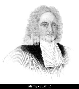 Edmond Halley, 1656 - 1742, an English astronomer, geophysicist, mathematician, meteorologist, - Stock Photo