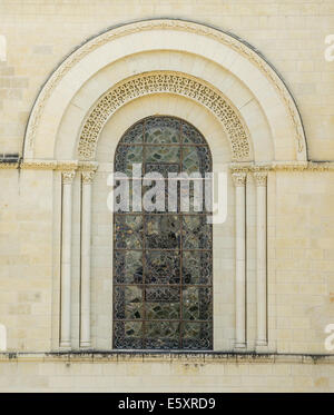 FRANCE: window in the Fontevraud Abbey - Stock Photo