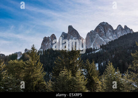 Odle mountains, from Val di Funes, Dolomites, South Tyrol, Italy - Stock Photo