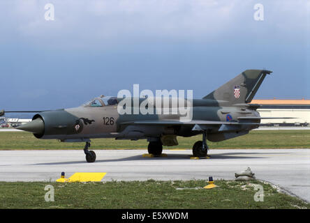 Russian built MIG 21 fighter of Croatian air force - Stock Photo