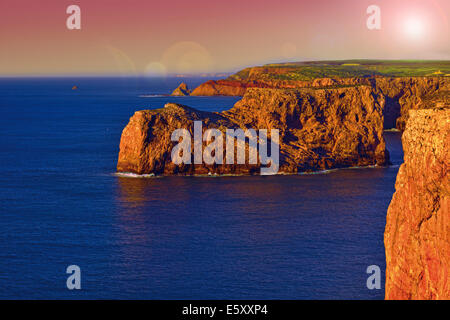 Portugal, Algarve: View from Cape Saint Vincent to the western Costa Vicentina coastline - Stock Photo